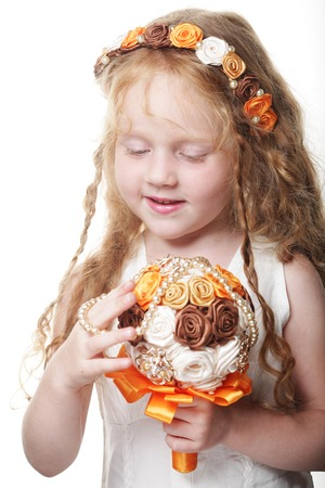 Prodigy: Little princess posing with bouquet of artificial roses
