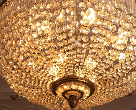 crystal chandelier: beautiful crystal chandelier in ambient light