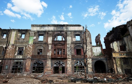 The ruins of the houses, after the war Stock Photo