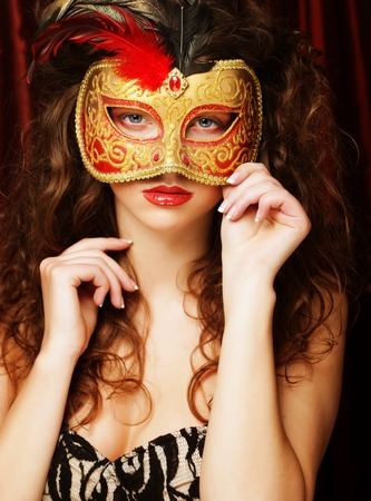 clubs diamonds: woman with venetian masquerade carnival mask