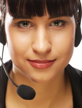 Portrait of smiling customer support female phone worker, over w Zdjęcie Seryjne - 85759016