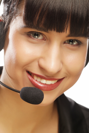 Portrait of smiling customer support female phone worker, over w Zdjęcie Seryjne - 87040390