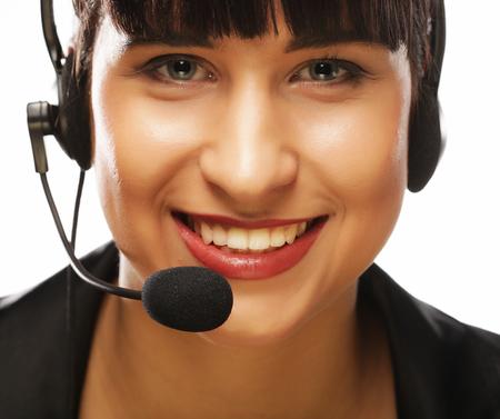 Portrait of smiling customer support female phone worker, over w Zdjęcie Seryjne - 87554658