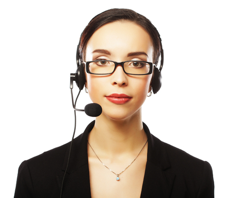 Portrait of smiling customer support female phone worker, over w Zdjęcie Seryjne - 87864243