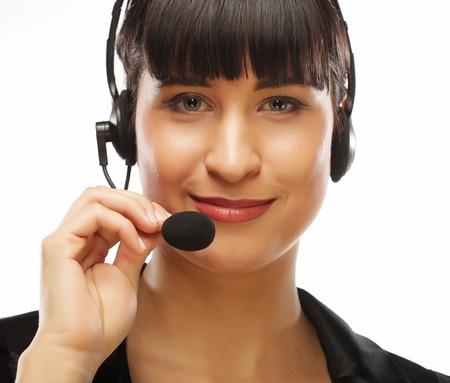 Portrait of smiling customer support female phone worker, over w Zdjęcie Seryjne - 92727494