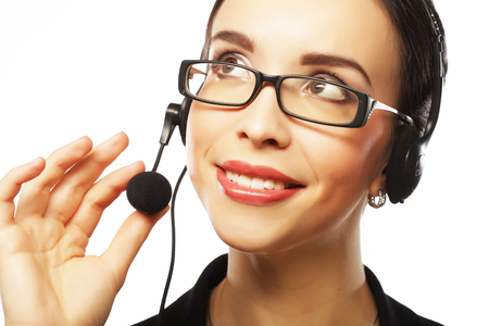 Portrait of smiling customer support female phone worker, over w Zdjęcie Seryjne - 92669742