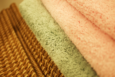 Sale! Assortment of different carpets in store.Close up.