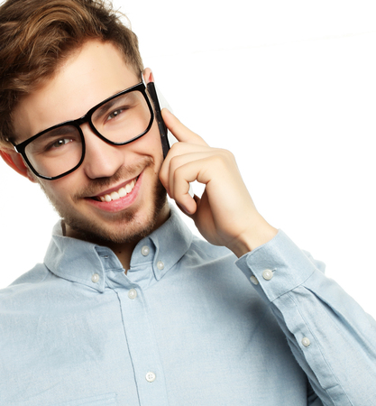 Emotional guy  isolated on white background