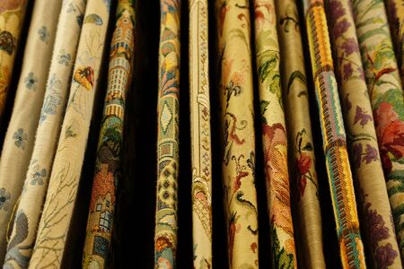 Rolls of fabric and textiles in store, close up Stok Fotoğraf