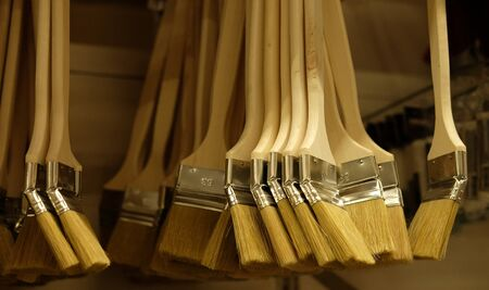 paint brushes for repair in the store, close up