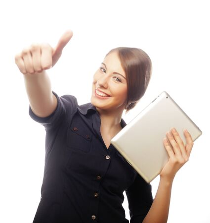 Smiling business woman with tablet thumb up show.