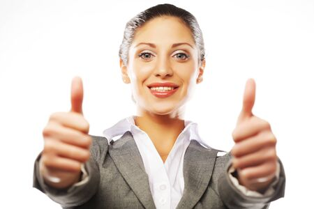 business woman giving thumbs up over white background