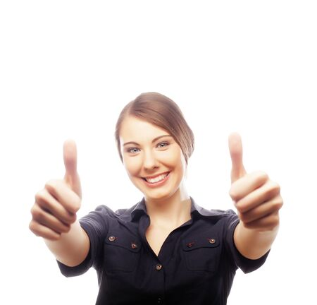 business woman giving thumbs up over white