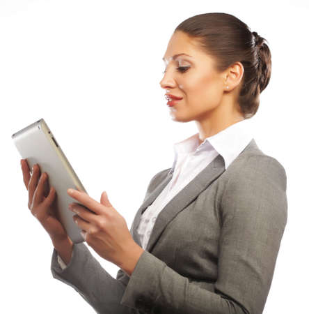 business woman uses a mobile tablet computer