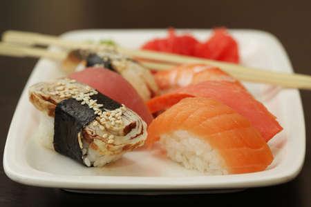 Sushi set on plate