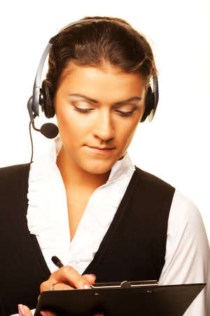 Portrait of woman customer service worker, call center smiling o Imagens