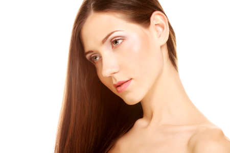 portrait with beautiful bright brown long hair