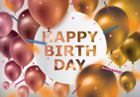 Buon Compleanno. Celebrazione di sfondo con palloncini colorati e coriandoli