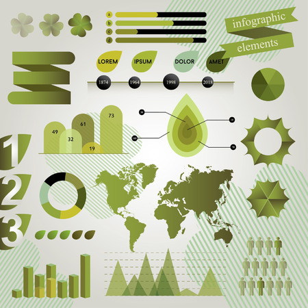 Green Graphic Elements For Creating Ecological Infographics. Vector