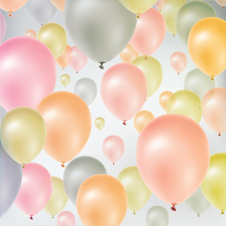 welcome party: Background with multicolored flying balloons.