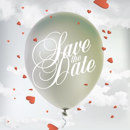 heart tone: Guarde el cartel de la fecha con el globo y confeti en forma de coraz�n en el cielo Vectores