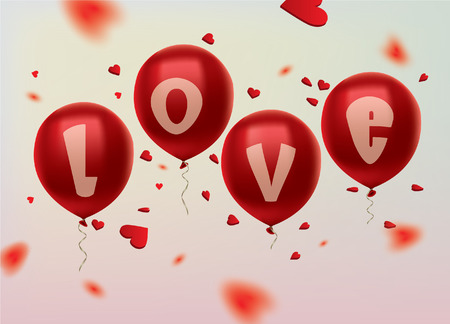 heartshaped: Red balloons end heart-shaped confetti. Love