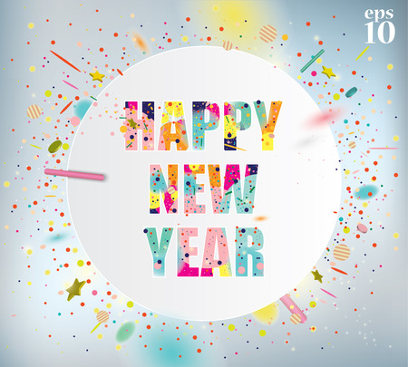 celebration party: Happy New Year celebration background with colorful confetti.