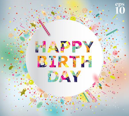 Illustrazione vettoriale di una cartolina d'auguri di buon compleanno