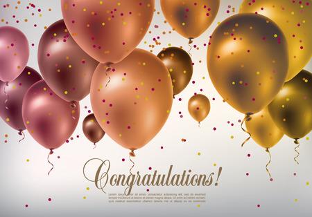 bienvenida: Fondo con los globos voladores multicolores y confeti