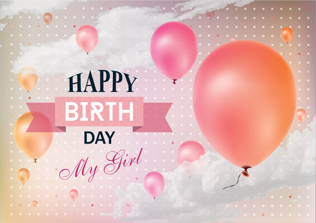 pink sky: Realistic colorful Birthday greeting card with balloons and confetti.