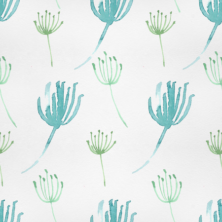 spring summer: Cute watercolor pattern with nature elements. Stock Photo