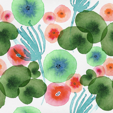 floral elements: Beautiful seamless pattern with watercolor floral elements.