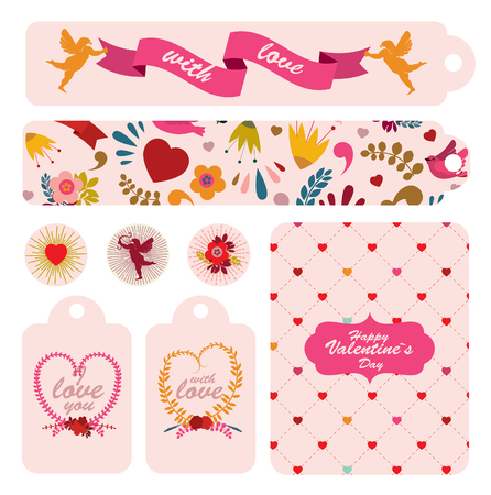 decoratio: Set of labels to celebrating Valentines day. Vector illustration.