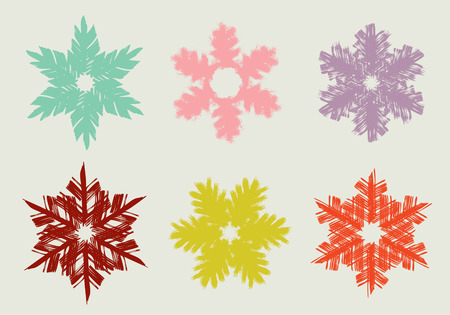 Set of different hand drawn snowflakes. Vector illustration