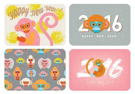 Set of cute card with monkeys Symbol of Chinese new year.Cartoon-like stylization.