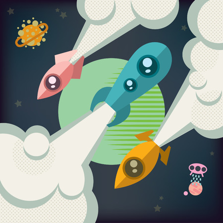 cartoon window: Three rockets soar into space in different directions. Illustration