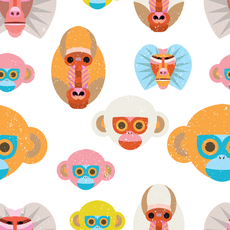 Cute seamless pattern with colorful cartoon monkeys on white background.