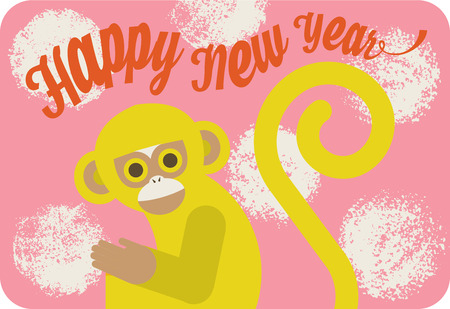 Chinese new year card with cute cartoon monkey. Illustration
