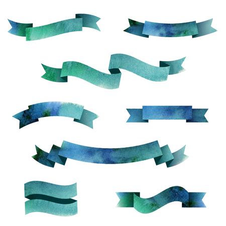 Set of watercolor ribbons.