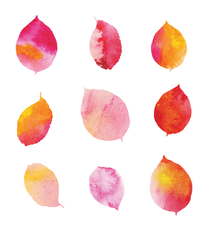 Set of watercolor leaves Ilustracja