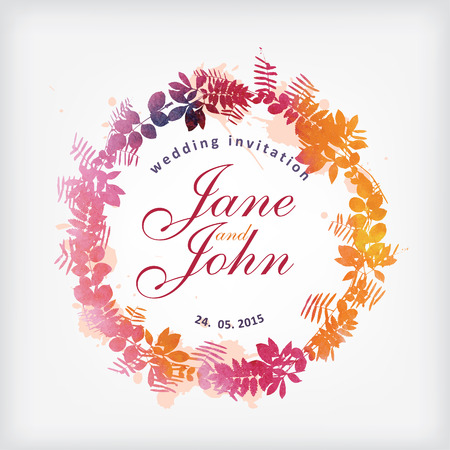 Wedding invitation. Watercolor floral wreath Illustration