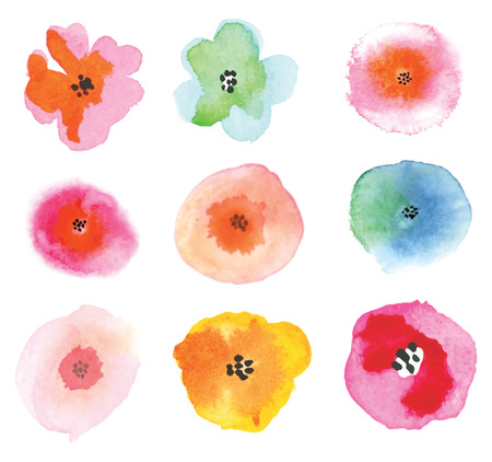 pink flowers: Set of colorful flowers. Beautiful floral elements. Illustration