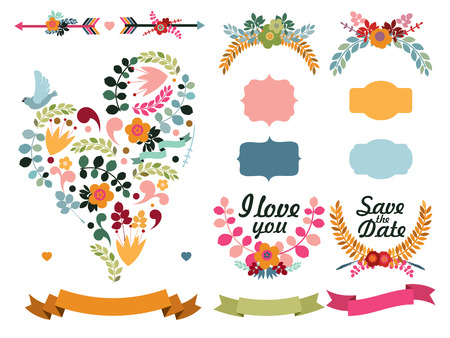 Set of cute decorative elements: floral heart with bird, labels, cupids arrows, laurel wreaths, ribbons.