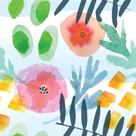 Nowoczesny kwiatowy szwu w technice akwareli.