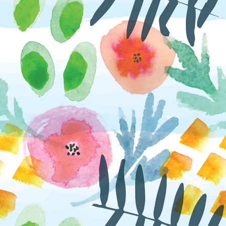 Modern floral seamless pattern in watercolor technique.