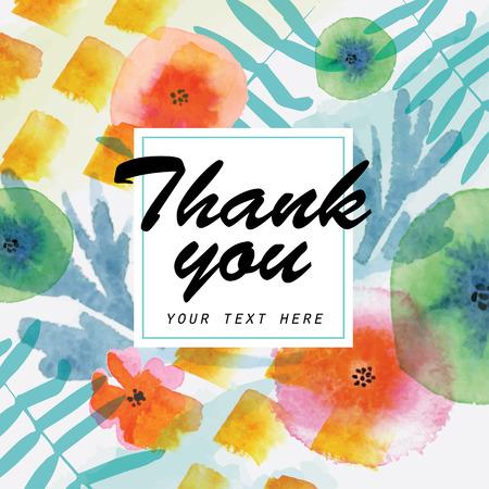 Dank u kaart. Watercolor bloemen elementen