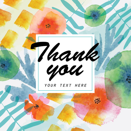 Thank you card. Watercolor floral elements Çizim