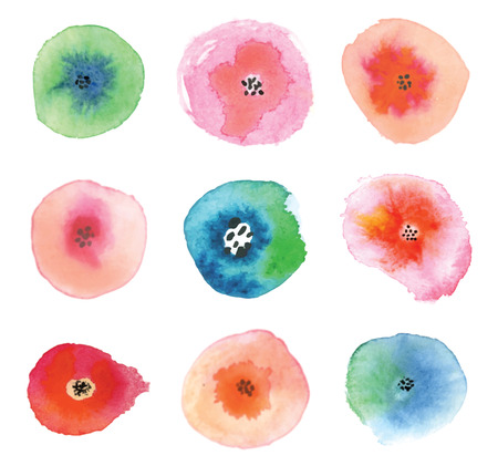 Set of watercolor flowers. Beautiful floral elements.