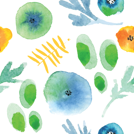 watercolor technique: Modern floral seamless pattern in watercolor technique.