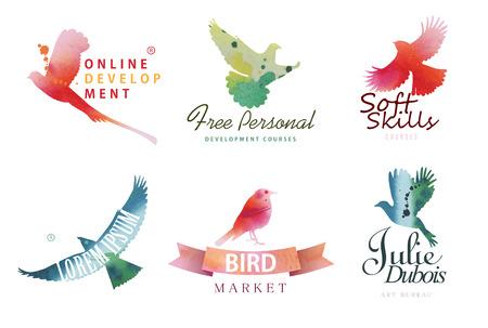Watercolor icon templates. Colorful birds silhouettes in watercolor technique.
